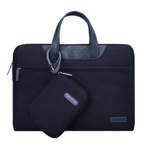 CARTINOE Imperturbable Demeanor Series 15.4-inch Premium PU Leather + Fine Polyester Protective Computer Briefcase Laptop Pouch with a Auxiliary Small Pocket (39.5 x 27.5 x 2.5 cm) - Black