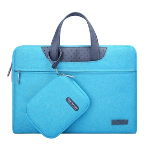 CARTINOE Imperturbable Demeanor Series 15.6-inch Premium PU Leather + Fine Polyester Protective Laptop Pouch Handbag Computer Briefcase with a Auxiliary Small Pocket (41 x 28 x 2.5 cm) - Blue