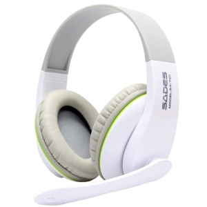 SADES SA-701 3.5mm Over-Ear Stereo Gaming Headphone Headset with Mic - White
