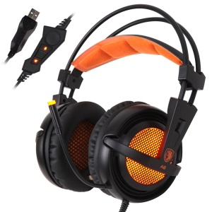 SADES A6 7.1Channel Over-Ear USB Stereo Gaming Headset with Mic & Breathing Light - Black