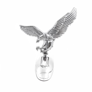 Silver Aluminum Alloy 3D Eagle Car Hood Decoration Badge Emblem with 3M Sticker