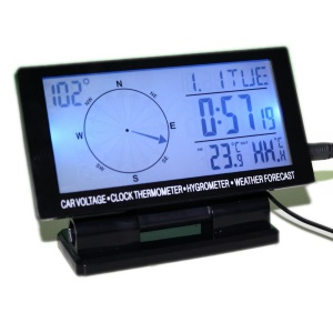 CD60 Car LCD Digital Compass Calendar Clock with in/out Thermometer