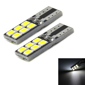 2pcs JMT-T10 3W 200lm 12-LED 2835SMD Decoding LED Car Clearance Lamp CANBUS Error-Free DC12V - White Light