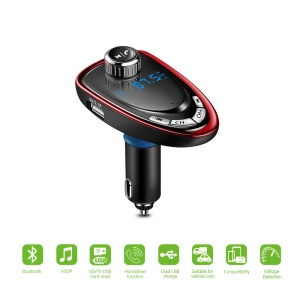 A27 FM Channel MP3 Player Wireless FM Transmitter Car Kit with 3.5mm Audio Output Jack - Red