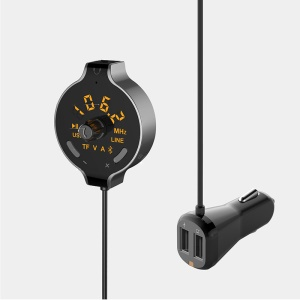 FM Transmitter Wireless In-car Bluetooth MP3 Player Dual USB Car Charger with LED Indicator