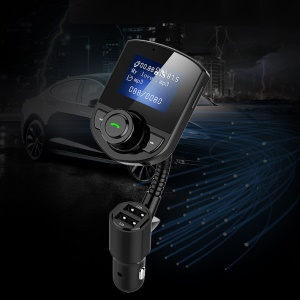 BT52 Handsfree Wireless FM Transmitter Stereo A2DP AUX Audio Music Player Dual USB Charger Bluetooth Car Kit - Black