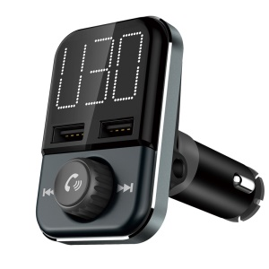 BT72 Car FM Transmitter 1.6'' Large Display Bluetooth Handsfree Car Kit 3.4A Dual USB Charger Support TF Card/Aux-in/U Disk