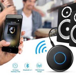 Ultra-thin Wireless Bluetooth 4.1 HD Stereo Car Audio Receiver Adapter with AUX-in