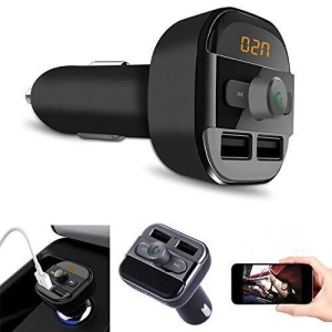 BT20 Bluetooth Car Hands-free FM Transmitter + Dual USB Car Charger MP3 Player Support TF Card - Black