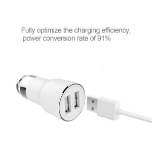 XIAOMI RoidMi 2S Dual USB Car Charger Bluetooth Hands-free Music Player (CE/RoHS/FCC) - White