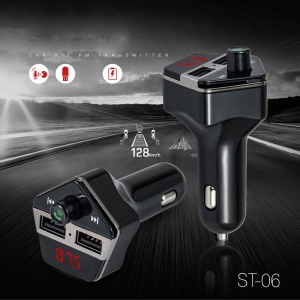 ST-06 Car FM Transmitter Bluetooth MP3 Player Dual USB Car Charger with Mic & LED Display for Samsung S8 etc. - Black