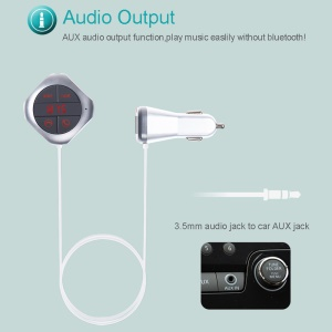 Q7S Magnetic Bluetooth Music Player Hands-free Speaker FM Transmitter Support TF Card / Aux-in - Silver Color