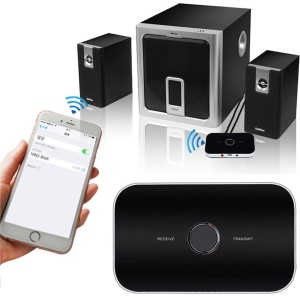 Bluetooth 4.0 Transmitter Receiver 2-in-1 3.5mm Wireless Audio Adapter for TV / Home Stereo System etc. - Black