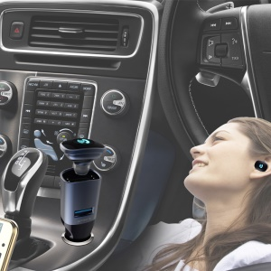 BC16 2-in-1 Mini Wireless Bluetooth 4.0 Headphone Headset USB Car Charger for iPhone 7, Samsung S8 etc.