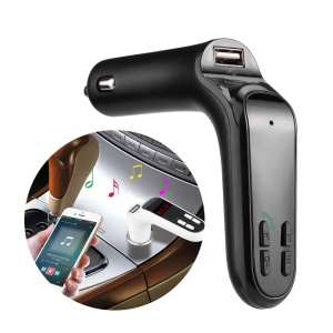 S7 Bluetooth Car Hands-free FM Transmitter + USB Car Charger Support TF Card/Aux-in - Black