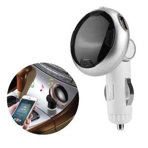Car FM Transmitter Bluetooth MP3 Player Dual USB Car Charger with Dual USB Output - Silver