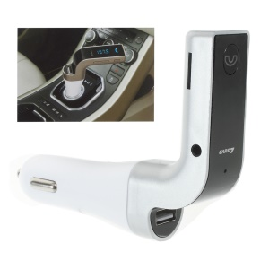 LED Display Bluetooth Hands-free Car Kit FM Transmitter 2.5A Car Charger Support Aux-in TF Card - Silver