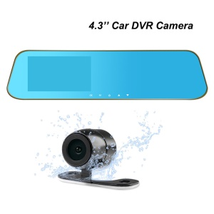 4.3 inch HD 1080P Rearview Mirror Front/Back Camera Car DVR PZ901