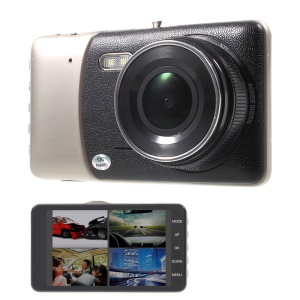 """S188 4"""" IPS Dual Cameras Car DVR Camcorder 1080P HD 170-Degree View Angle - Black"""