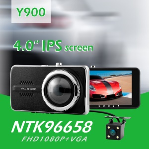 Y900 NT96658 Full HD 1080P 4-inch IPS Screen Car DVR Camcorder Video Recorder 170-Degree Wide Angle