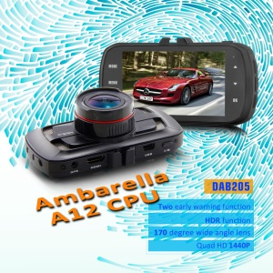 "DAB205 Ambarella A12 CPU Car DVR 3"" 5.0MP 170 Degree H.264 Motion Detection Car Camera No GPS Module - Black"