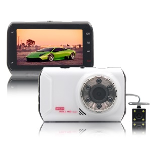 FH05H 3.0 inch 1080P Full HD Dual Lens Car DVR 170° Wide Angle Car Camera Recorder - White
