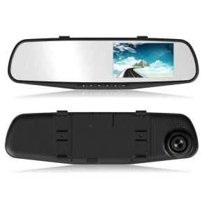 C102 4.3-inch 1080P HD Car Video Recorder Rearview Mirror Car DVR with 140 Degree Wide Angle - Black