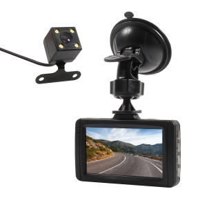 FH08H 3.0 Inch Full HD 1080P 170 Degree Wide Angle Dual Cameras Car Video Recorder Car DVR - Black