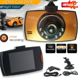 H300 2.4-inch 5MP Motion Detection Car Vehicle HD Dash Camera Car DVR with IR Night Vision - Gold