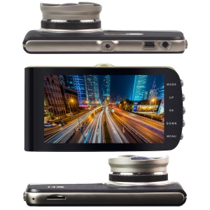 "SD420 Novatek 96650 Car DVR Dual Lens Dash Cam Recorder with Starlight Night Vision 1080P 170° Wide Angle 4"" LCD"