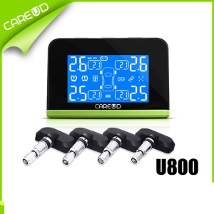 CAREUD U800 NF+ Auto Wireless TPMS Tire Pressure Monitoring System + 4 Internal Replaceable Battery Sensors LCD Display Solar Energy