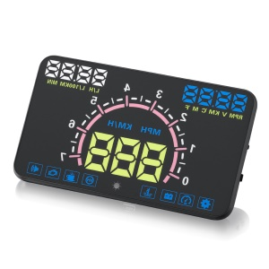 E350 5.8-inch Car HUD Head up Multifunction Display with OBD2, KM/h MPH RPM Speeding Warning