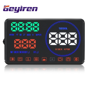 GEYIREN M9 5.5 '' Car Hud Head Up Display with OBD2 Interface Plug Play KM/h MPH Speeding Warning with Reflection Panel
