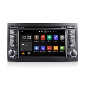 7 Inch Touch Screen Android5.1.1 Quad-core Car Navi DVD Player with GPS Radio Bluetooth for Audi A4 - Black