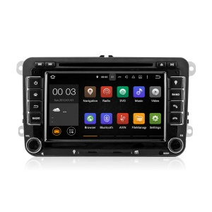 7 Inch Touch Screen Android Quad-core Car Navi DVD Player with GPS WiFi Bluetooth for Volkswagen - Black