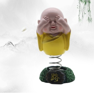 Creative Resin Cartoon Shaking Monk Car Decoration Spring Toy - Yellow / Covering Eyes