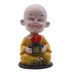 Creative Resin Cartoon Head Shaking Monk Car Decoration Car Accessories - All Wishes Come True
