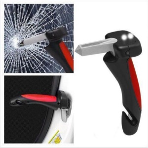 Portable Handle Car Cane Aid Glass Breaker Seatbelt Cutter with LED Flashlight