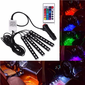Car RGB LED Strip Light 16 Colors Atmosphere Lamps Car Interior Light with Remote Controller