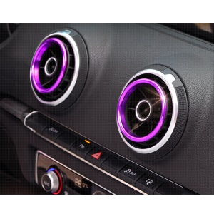 4Pcs Aluminium Alloy Chic Plated Air Outlet Decor Circle for Audi A3 / S3 (2014-2017) - Purple