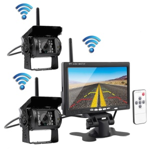 PZ607-2-W 7 Inch HD Display Wireless Backup Rear View Camera Monitor Kit for Truck, RV, Van etc.