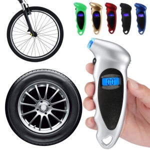 Car Motorcycle Bike Portable Tire Gauge 0-150PSI with Digital LCD Screen - Silver