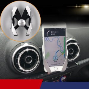 M Shape Gear Linkage Car Air Vent Phone Holder Mount for Audi A3/S3 (Before 2012 Year) - Silver