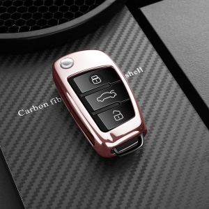 DUX DUCIS 1mm Plated TPU Shielded Cover for Audi A1/A2/A3/Q2/Q3/S3 Car Key - Rose Gold