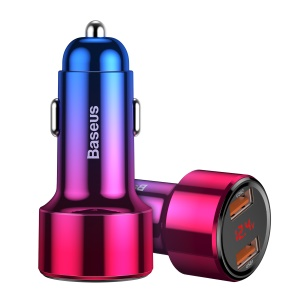 BASEUS Magic Series Smart Car Phone Charger Dual USB 45W Quick Charge Adapter - Red