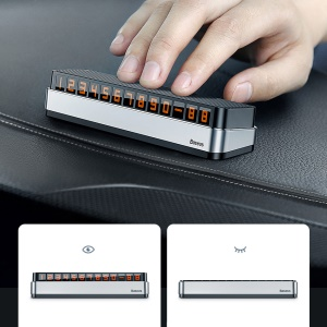 BASEUS Car Temporary Parking Card Phone Holder Luminous Phone Number Plate - Silver