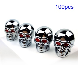 100PCS Cool Skull Pattern Tire Valve Stem Cap Cover for Car Motorcycle