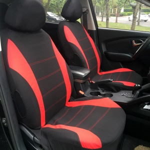 9-In-1 Car Front & Back Seat Head Rest Covers - Red