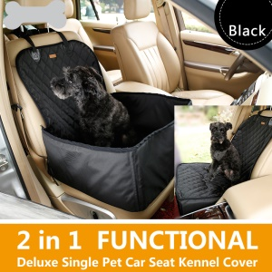 2-In-1 Deluxe Waterproof Pet Dog Seat Cover Car Front Seat Crate Cover - Black