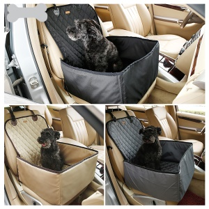 2-Dentro-1 Deluxe Waterproof Pet Dog Hammock Car Assento frontal Protector Mat - cinza